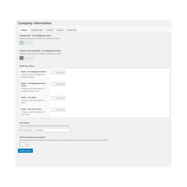 DFU Company Info with SEO plugin settings