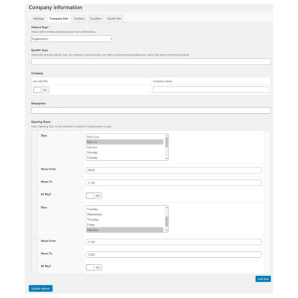 DFU Company Info with SEO plugin company info settings