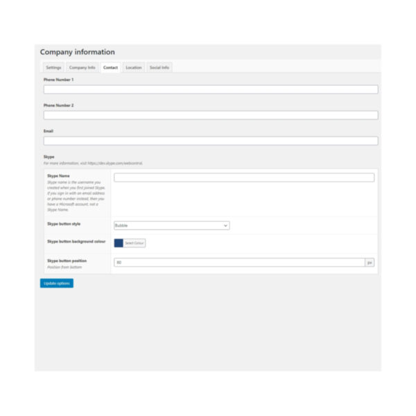 DFU Company Info with SEO plugin contact settings